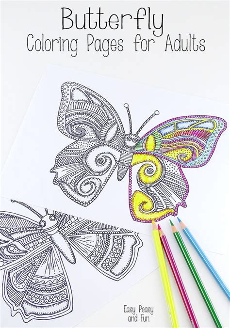 butterfly coloring pages  adults  ojays easy