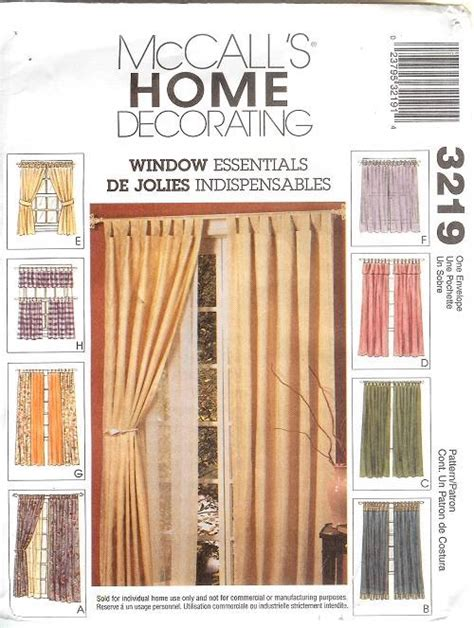 oop mccalls sewing pattern window treatment curtains - Sewing Patterns For Drapes