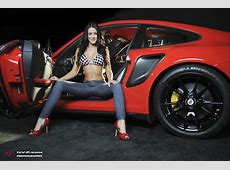 Car Girl Alanna and Red Porsche GT2 RS wallpapers