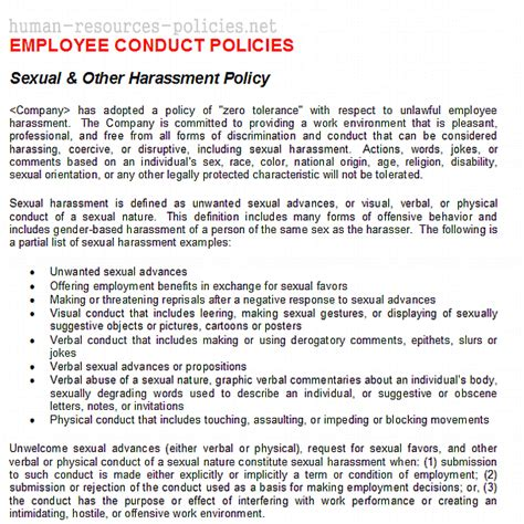 workplace harassment policy template sle human resources policies sle procedures for small business powered by