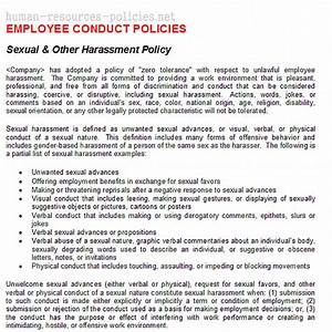 sample human resources policies sample procedures for With sexual harassment policy template