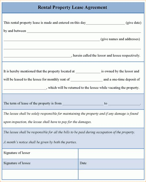 rental lease agreement template word teknoswitch