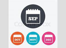 Calendar icons September, November, October and December