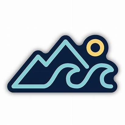 Wave Sticker Sun Stickers Mountains