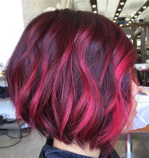 With Pink Highlights Hairstyles by Lipstick Pink Color Highlights Hair Ideas