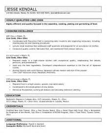 Line Of Resume by Line Cook Resume Jvwithmenow