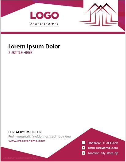 real estate agent office letterhead templates