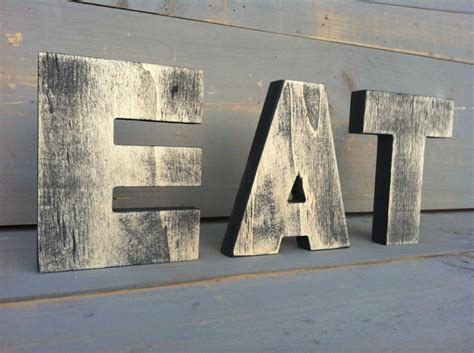 big wood letters eat sign tea sign kitchen sign wood sign 3 wood letters 2
