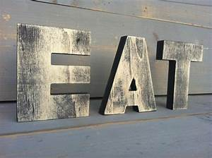 Eat sign tea sign kitchen sign wood sign 3 wood letters 2 for Wooden letter signs