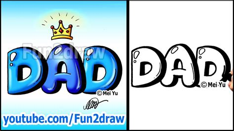 draw dad  crown graffiti bubble letters easy youtube