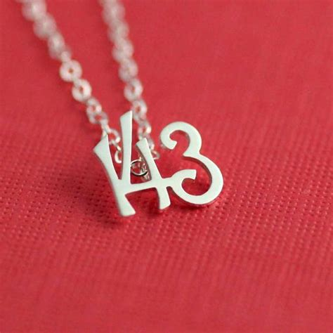 143 I Love You Necklace In Silver Gifts For Her Bride Gift
