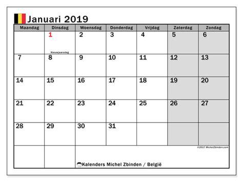 Kalender Januari 2019, België