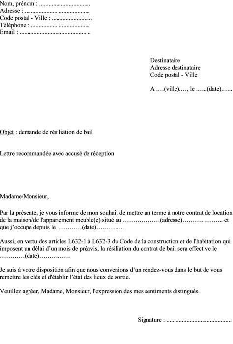 bail location bureau lettre de resiliation bail meuble kirafes