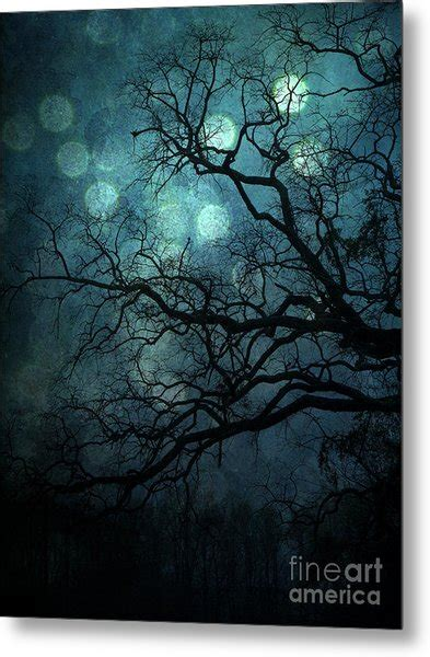 Surreal Gothic Haunting Dark Blue Teal Trees Nature Forest
