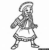 Coloring Peru Wear Ethnic Colouring Sheets Thecolor Children Traditional National sketch template