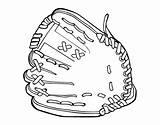 Mitt Coloring Baseball Glove Ball Coloringcrew sketch template