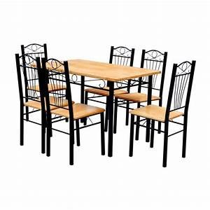 Tisch Holz Metall : esszimmer st hle tisch 7er set holz metall hellbraun g nstig kaufen ~ Somuchworld.com Haus und Dekorationen