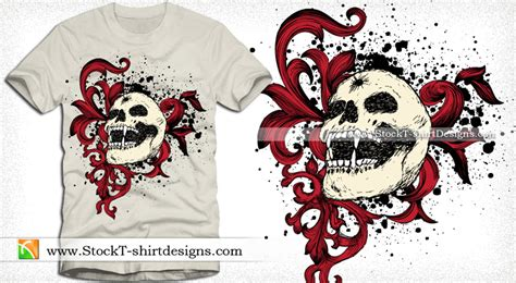 Vector Graphics T-shirt Design With Skull And Floral