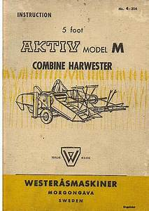 Westerasmaskiner Aktiv Model M Combine Operators Manual