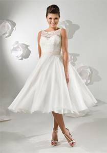 tea length wedding dress satin and lace bateau a With tea length dresses wedding