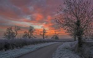 Landscapes Winter Snow Sky Clouds Sunset Sunrise High ...