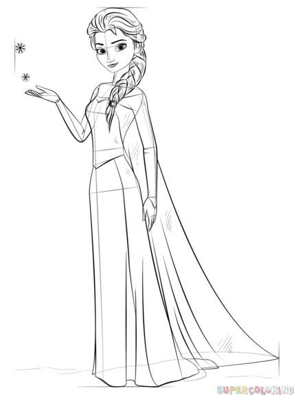 draw elsa  frozen step  step drawing