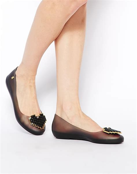lyst melissa color feeling heart black flat shoes  black