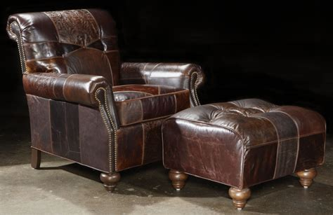 leather patches chair and ottoman great looking and great