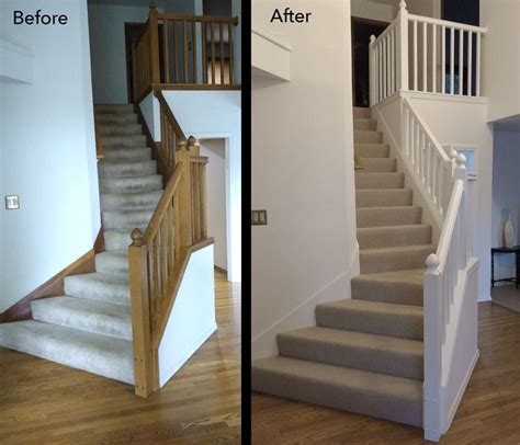painted banisters before and after painted oak stair railing banister