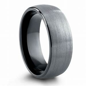brushed tungsten wedding band with black inside 8mm or With wedding ring tungsten