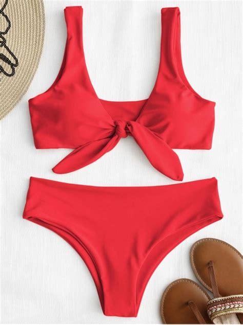 red swimsuit front knot padded bikini set bright red bikinis l zaful