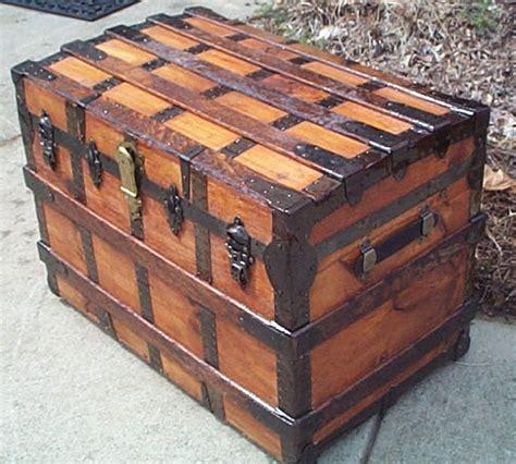 restored antique flat top steamer trunk  sale