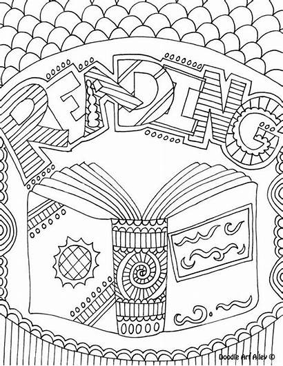 Coloring Pages Reading Library Adult Books Subject