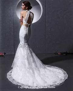 allens bridal lace and charmeuse halter neckline chapel With lace halter wedding dress