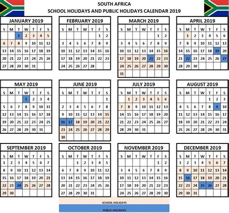 school holidays  calendar sa south africa