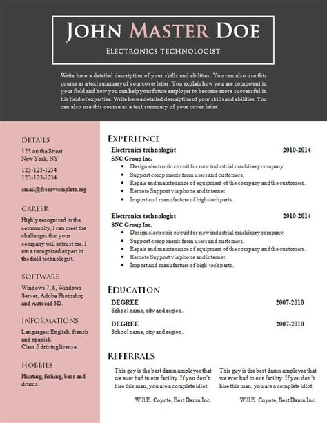 Free Resume Templates Downloads With No Fees by Free Cv Resume Template 688 694 Free Cv Template Dot Org