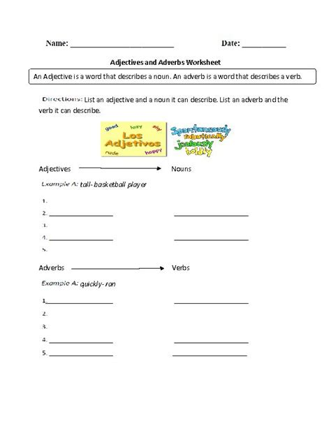 adjectives and adverbs worksheet school pinterest