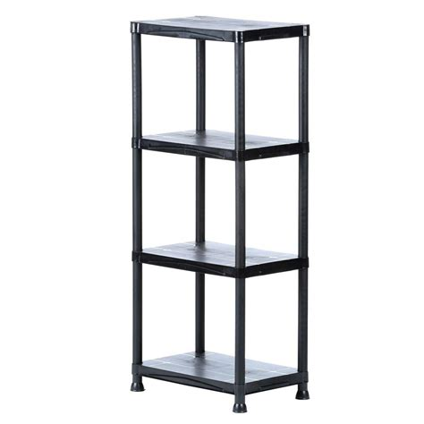 home depot shelfs 4 shelf 14 in d x 22 in w x 52 in h black plastic