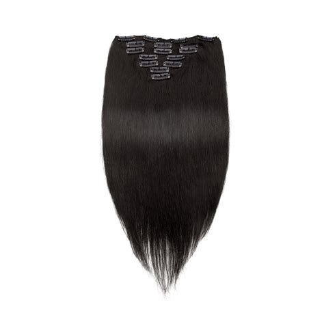 pcs straight clip  remy hair extensions  natural black