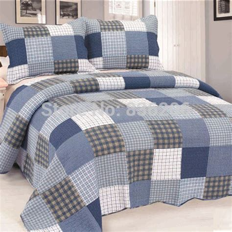 korean style 100 cotton quilted blue plaid bedding