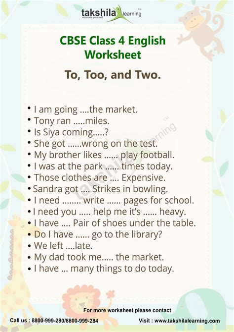 use of to too and two practice worksheet for class 4 english