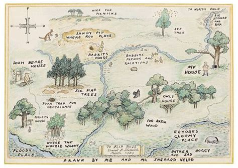Map Of The 100 Acre Wood, World Of Christopher Robin And