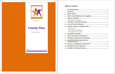 family plan template word templates