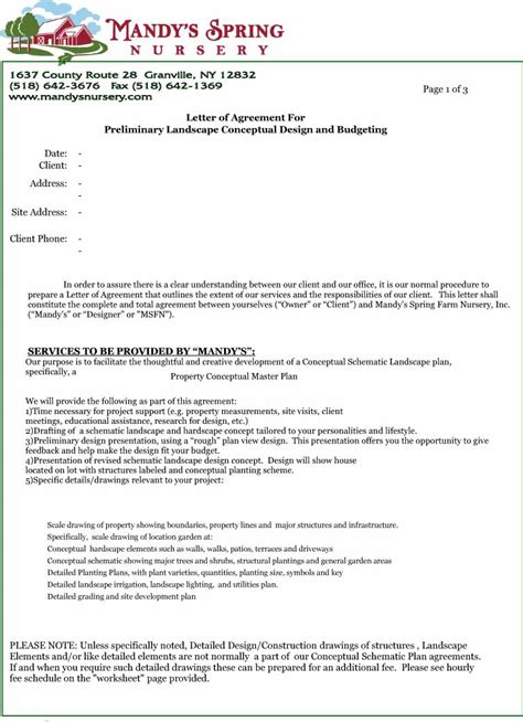 letter  agreement  printable documents