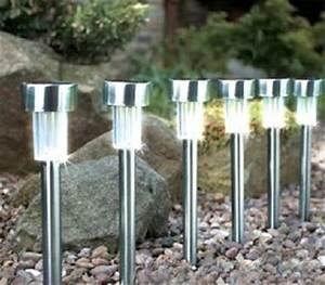 Lampe De Jardin : lampe led solaire de jardin acier 33 5cm destockage grossiste ~ Teatrodelosmanantiales.com Idées de Décoration