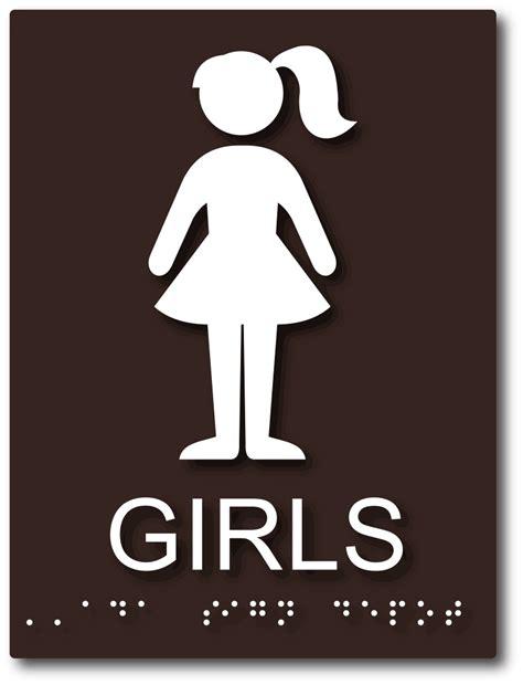 girls bathroom sign  compliant school lavatory sign