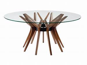 round wood and glass table aster by roche bobois design With table ronde roche bobois