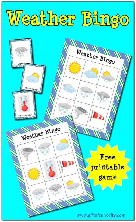 weather bingo printables  homeschool deals