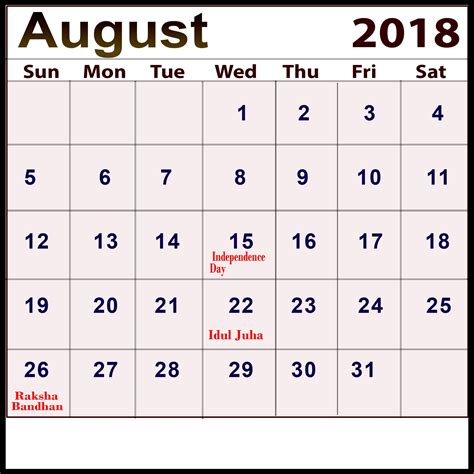august calendar india holidays festivals