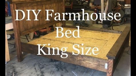 diy   build  farmhouse king size bed farmhouse